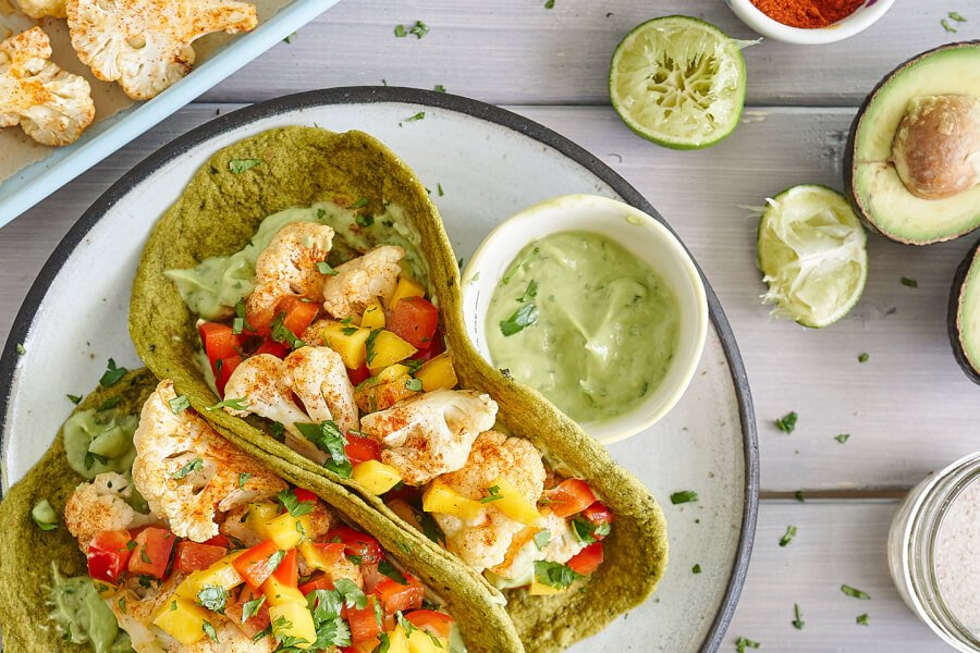 Cauliflower Tacos With Mango Red Pepper Salsa