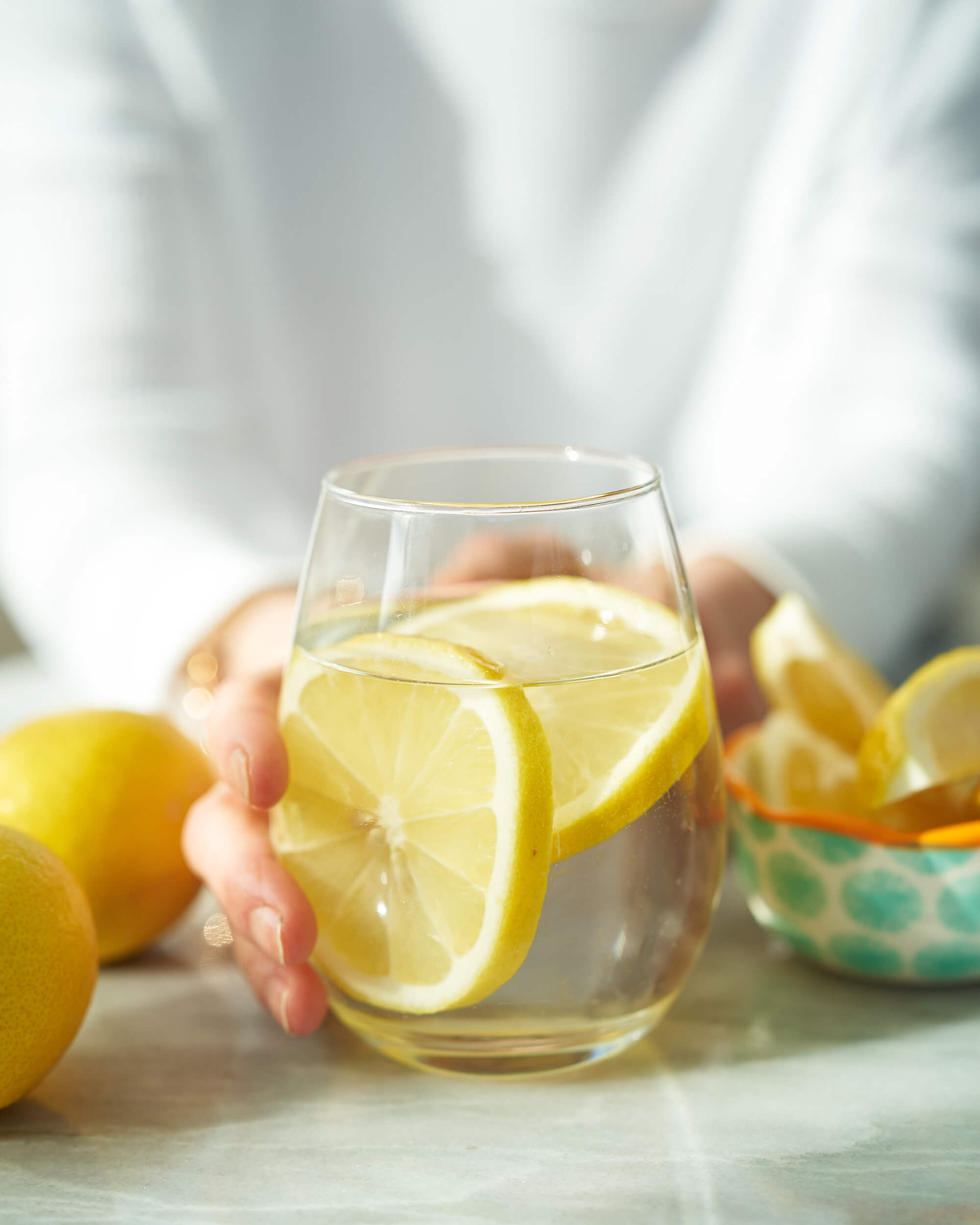 Lemon and water in a glass