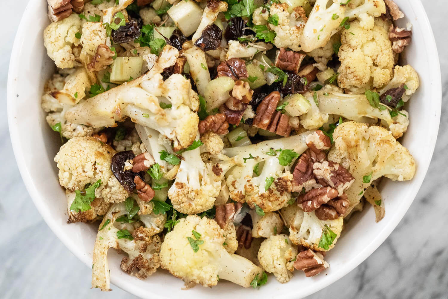 roasted cauliflower salad in a bowl