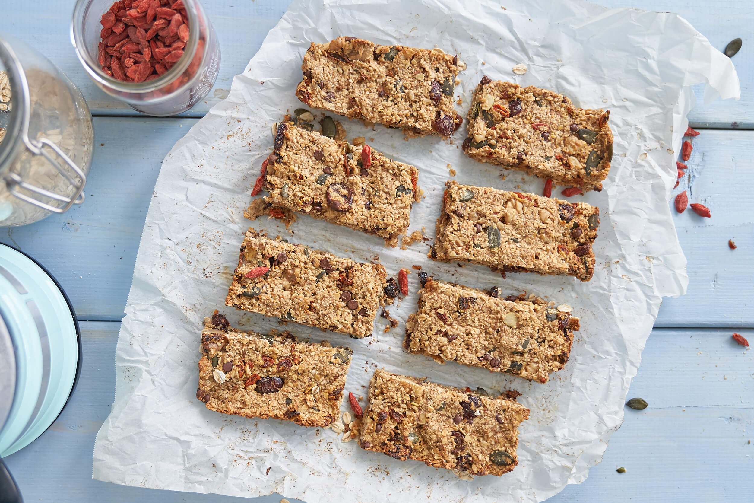 Superfood Granola Bars flat lay cut on board