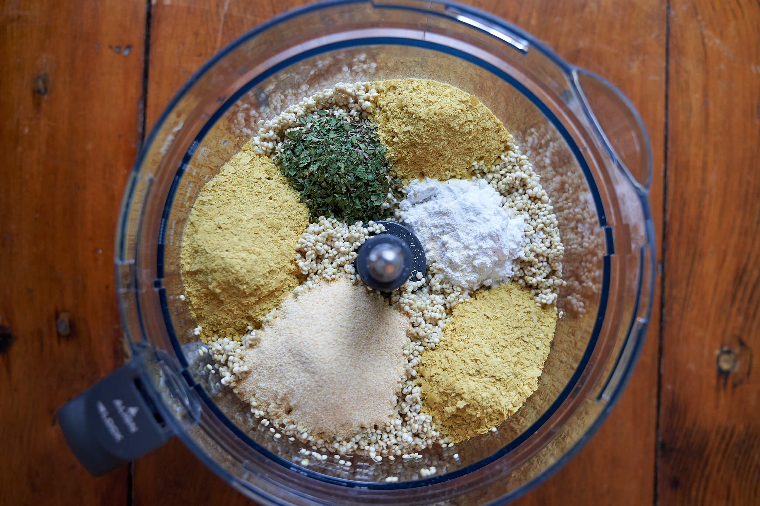 vegan quinoa pizza crust ingredients in food processor