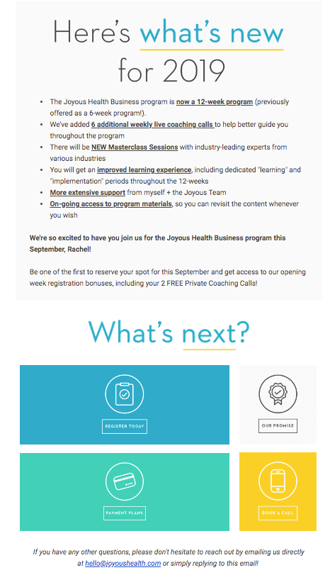Joyous Health Business Welcome Email
