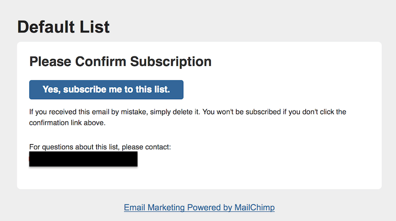 Mailchimp confirmation email